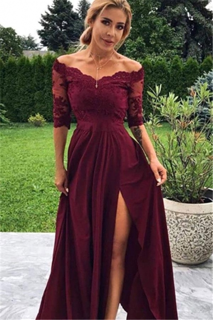 Exquisite Off-the-Shoulder Lace Burgundy Prom Dress Chiffon Half Sleeves Evening Dresses with Slit