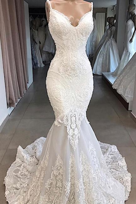 Gorgeous Spaghetti Strap V-Neck Mermaid Wedding Dress Sleeveless White Open Back Wedding Dress with Chapel Train