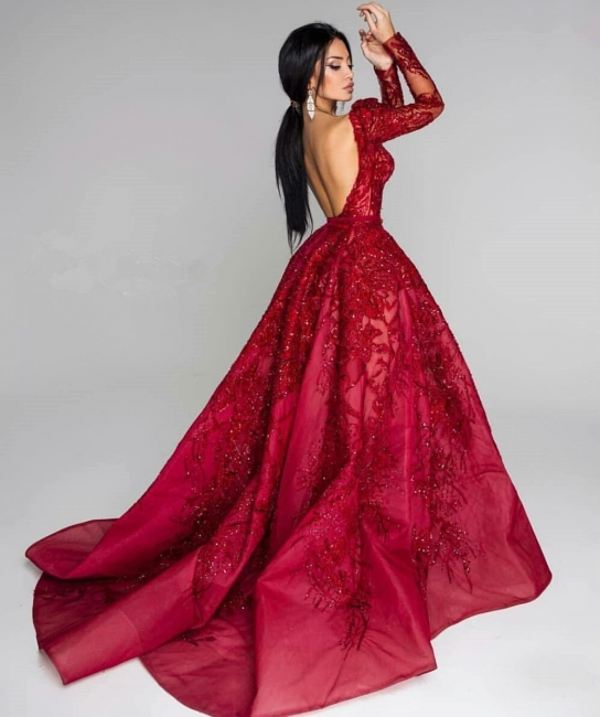 Sexy Off-the-Shoulder A-Line Prom Dresses Burgundy Open Back Long Sleeves Evening Gowns With Lace Appliques