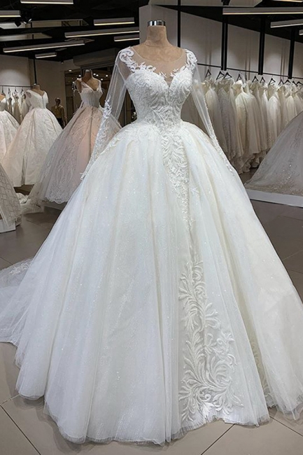 Elegant Illusion Ball Gown White Wedding Dress Long Sleeves Lace Appliques Bridal Gowns with Cathedral Train