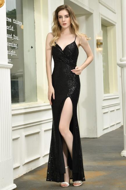 Elegant Black Spaghetti Strap V-Neck Sequined Front Slit Prom Dresses Long Sheath Backless Evening Dresses