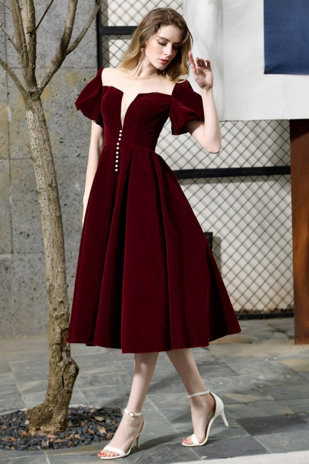 Sexy Flare Sleeve Deep V-Neck Burgundy Prom Dresses A-Line Tea Length Ruffles Evening Dresses