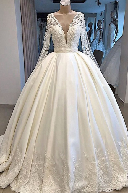 Luxury V-Neck Ball Gown Wedding Dress Long Sleeves Bridal Gowns with Pearl On Sale