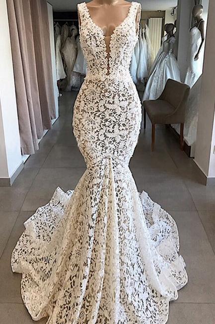 Luxury V-Neck Mermaid Lace Wedding Dresses Romantic Sleeveless Bridal Gowns On Sale