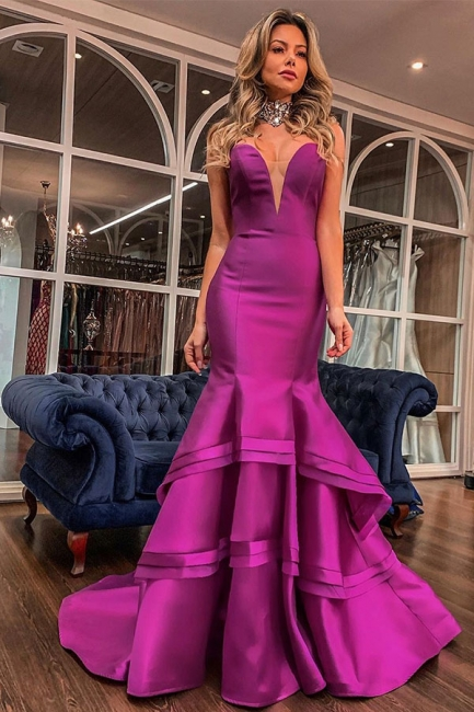 Elegant Sweetheart Sleeveless Prom Dresses Backless Ruffles Tiered Long Mermaid Formal Party Dresses