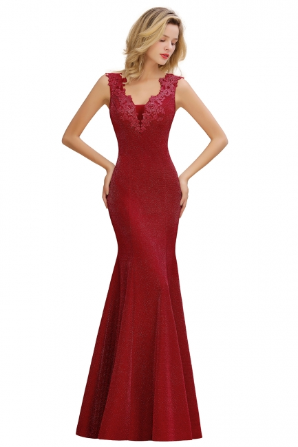 Chic Deep V-Neck Sleeveless Pink Prom Dress Glittery Appliques Mermaid Evening Dresses On Sale