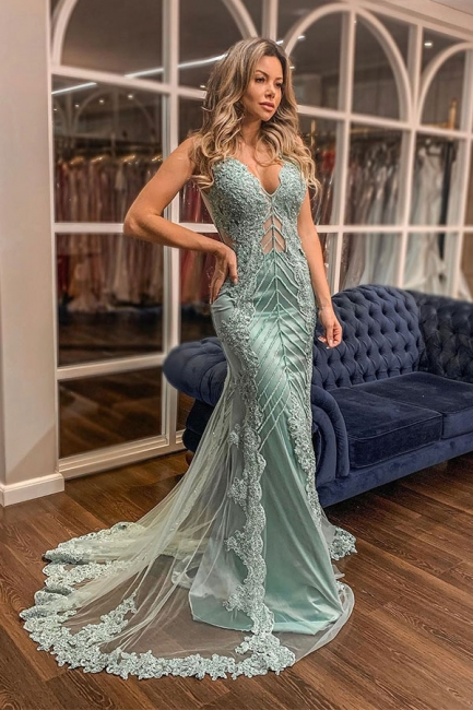 Straps V-Neck Sleeveless Prom Dresses Open Back Lace Appliques Crystal Beading Mermaid Party Dresses
