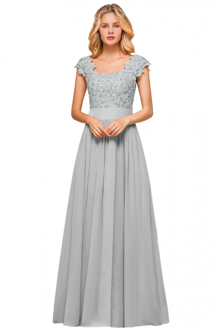 Modest Cap Sleeve Scoop Lace Beading Long Prom Dresses A-Line Chiffon Prom Dresses