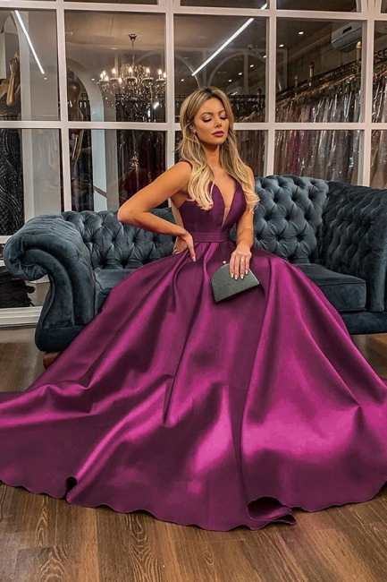 Sexy Straps V-Neck Illusion-back Sash Ruffles Prom Dresses A-line Evening Dresses with Back Bow
