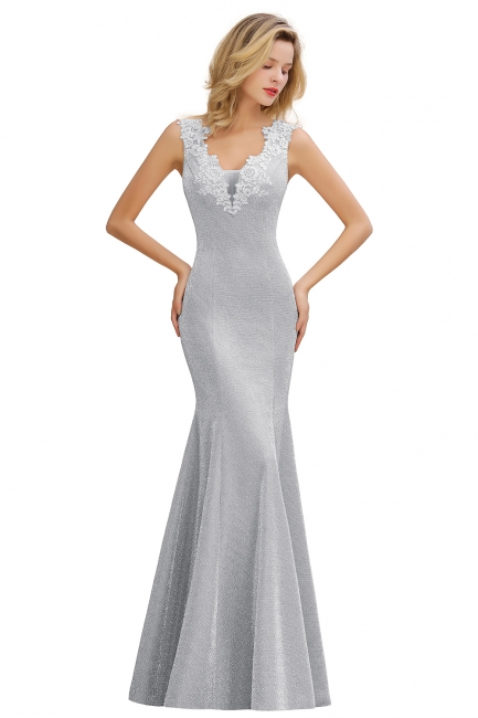 Chic Deep V-Neck Sleeveless Pink Prom Dress Glittery Appliques Mermaid Evening Dresses On Sale