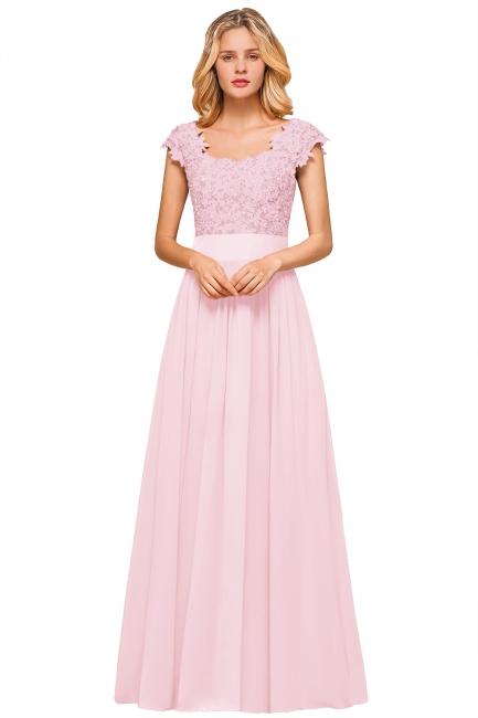 Modest Cap Sleeve Scoop Lace Beading Long Prom Dresses A-Line Chiffon Prom Dresses