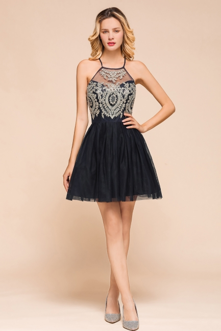 Gorgeous Halter Applique Lace Short Prom Dresses A-Line Backless Formal Dresses
