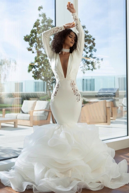 Sexy Mermaid Deep-V-Neck Wedding Dresses  Lace Appliques Bridal Gowns with Open Back On Sale