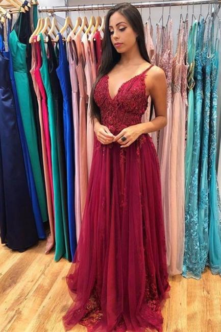 Glamorous Burgundy Spaghetti Strap V-Neck Applique Pearls Prom Dresses A-line Ruffles Evening Dresses