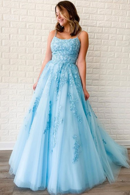 Spaghetti Strap Backless Appliques Prom Dresses A-Line Lace Sleeveless Evening Dresses