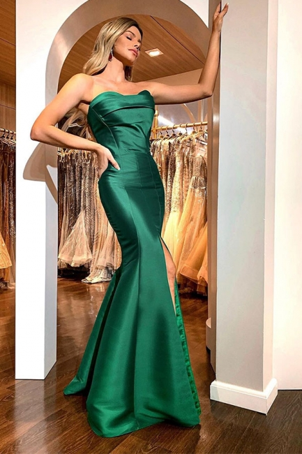 Gorgeous Green Strapless Front Slit Ruffles Prom Dresses Mermaid Long Evening Dresses