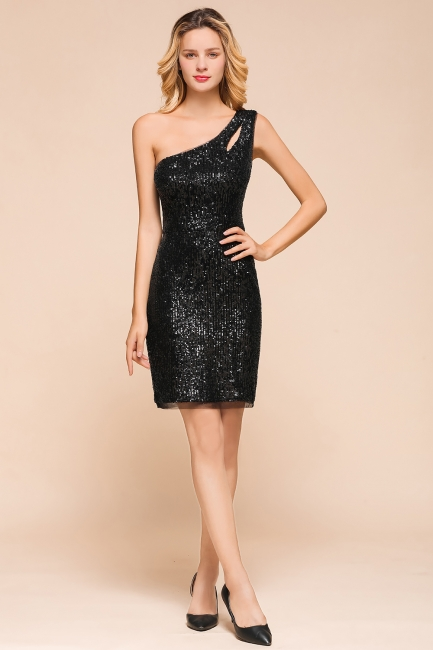 Black One-Shoulder Sequined Prom Dresses Sheath Short Formal Dresses