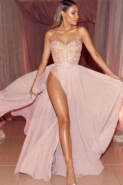 Sexy Pink Sweetheart Strapless Applique Beaded Prom Dresses  Front Slit A-Line Evening Dresses