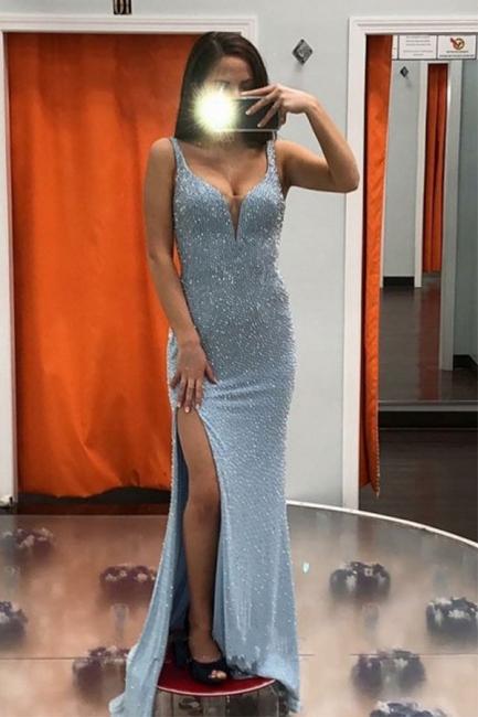 Modest Blue Straps V-Neck Sequined Front Slit Prom Dresses Sheath Sleeveless Long Evening Dresses