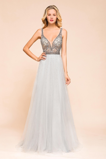 Beaded Plunging V-Neck Prom Dresses Sexy Tulle Sleeveless Evening Dresses On Sale