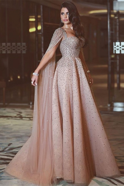 Sexy Straps Sweetheart Jewel Prom Dresses A-Line  Rhinestones Formal Party Dresses with Cape