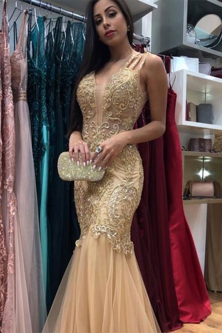 Affordable Golden Strap Sleeveless V-Neck Prom Dresses Applique Beading Jewel Mermaid Formal Dresses