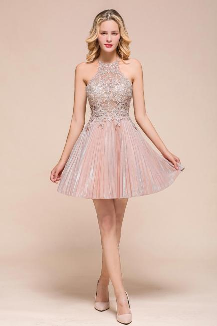 Gorgeous Pink Halter Lace Applique Short Prom Dresses A-Line Backless Formal Party Dresses
