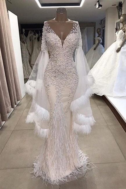 Glamorous Deep V-Neck Short Sleeves Mermaid Prom Dresses Applique Beading Long Formal Party Dresses