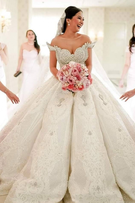 Affordable Off-the-shoulder Appliques Wedding Dresses Beading Lace Ruffles Bridal Gowns