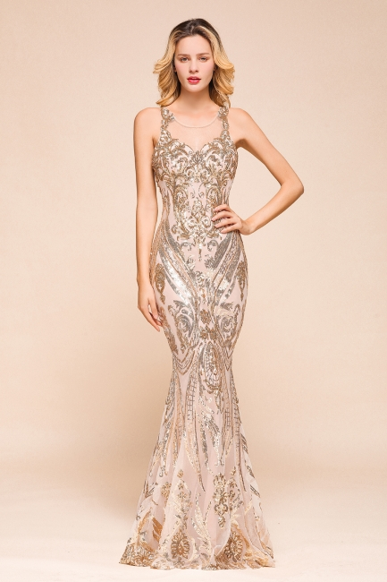 Glamorous Sequined High-Neck Prom Dresses Sleevelss Mermaid Long Formal Party Dresses