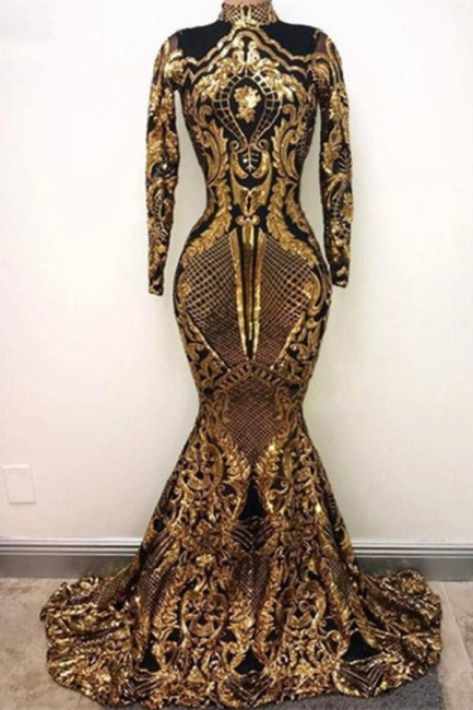 Gorgeous Golden High Neck Long Sleeve Sequined Mermaid Prom Dresses Fitted And Flare Evening Dresses
