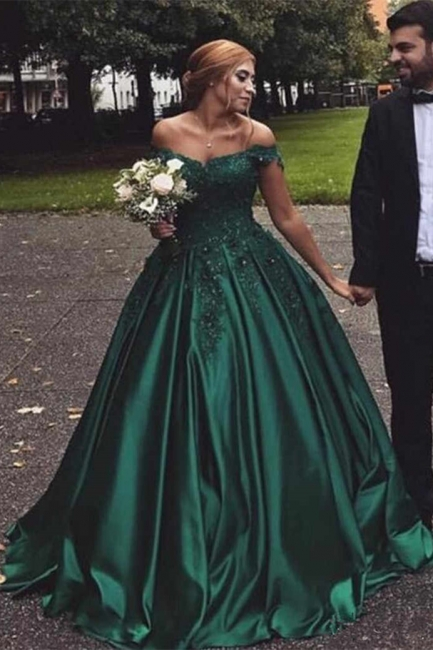Stunning Dark Green Off-the-Shoulder Sweetheart Prom Dresses Appliques Beading Ruffles Formal Party Evening Dresses
