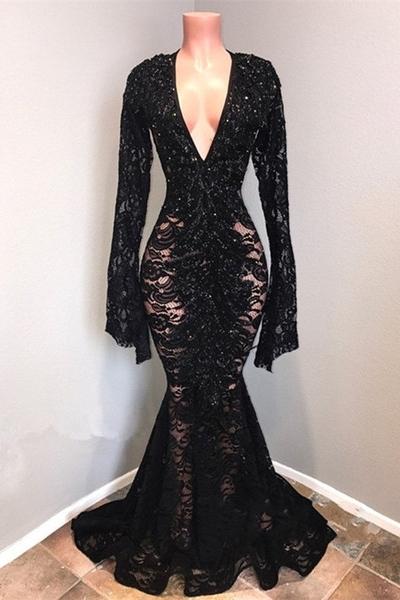 Affordable Black Lace V-Neck Long Sleeves Mermaid Prom Dresses  Sheer Long Evening Dresses On Sale