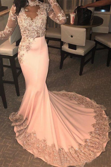 Modest High Neck Long Sleeves Applique Prom Dresses Lace Beading Mermaid Evening Dresses