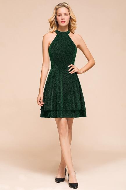Glamorous Green Halter Sleeveless Sequined Short Prom Dresses Backless Sheath Formal Dresses
