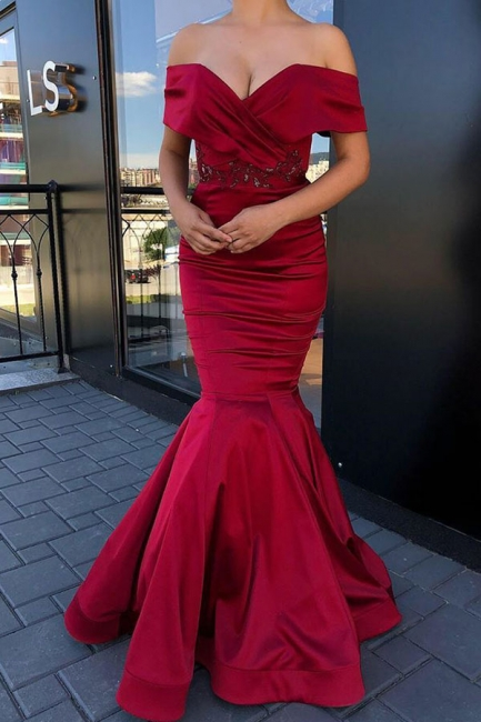 Gorgeous Burgundy Sweetheart Off-the-Shoulder Prom Dresses Beading Long Mermaid Evening Dresses