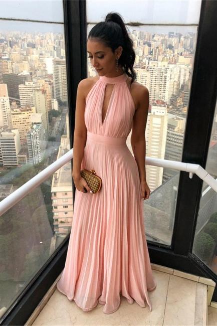 Gorgeous High Neck Keyhole Prom Dresses Open Back Chiffon Pink Evening Dresses