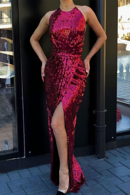 Glamorous Halter Sequined Front Slit Long Prom Dresses Sheath Sleeveless Formal Party Dresses