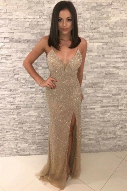 Modest Golden Spaghetti Strap V-Neck Sleeveless Prom Dresses Sequined Front Slit Sheath Evening Dresses