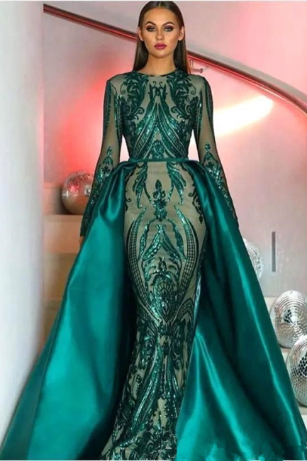 Elegant Jewel Fitted Prom Dresses Long Sleeves Appliques Evening Dresses with Detachable Train
