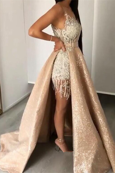 Gorgeous Jewel Sleeveless Applique Beading Prom Dresses Sequined A-Line Evening Dresses