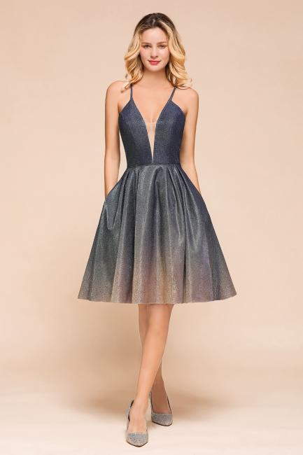 Stunning Spaghetti Strap V-Neck Short Prom Dresses Ruffles Crisscross Back Graduation Dresses