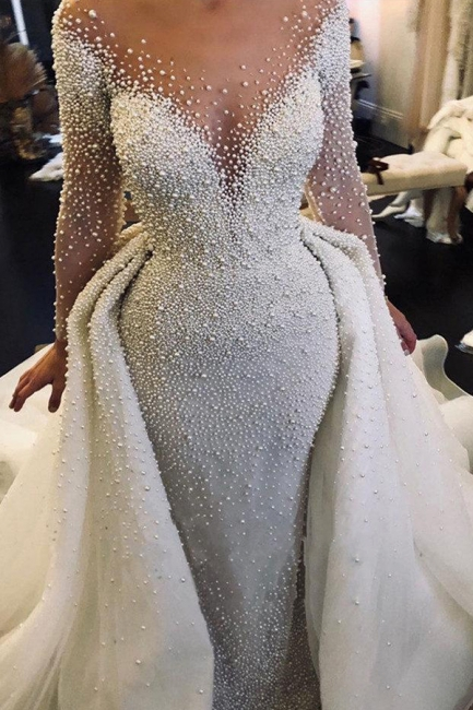 Luxury Ivory V-Neck Wedding Dress Long Sleeves Despatchable Train Bridal Gowns with Fully coverd Pearls