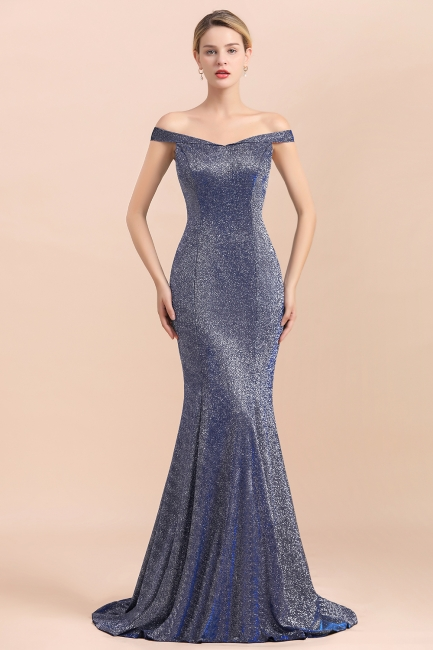 Gorgeous Off-the-shoulder Silver Prom Dresses Sparkly Sequin Long  Evening Dresses