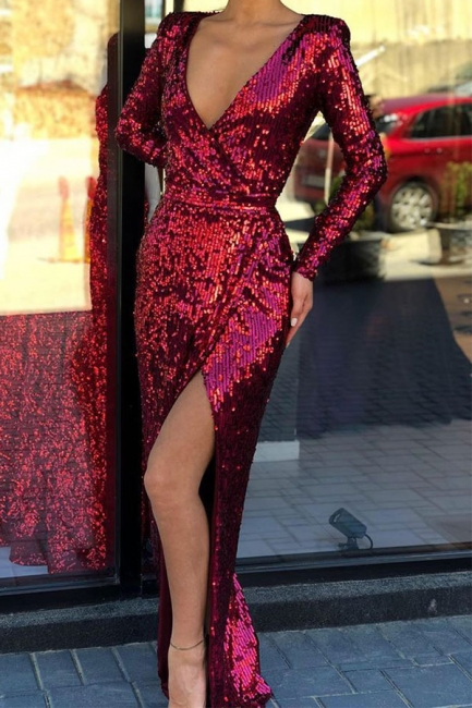 Elegant Deep V-Neck Long Sleeves Sequined Prom Dresses  Front Slit Long Sheath Evening Dresses