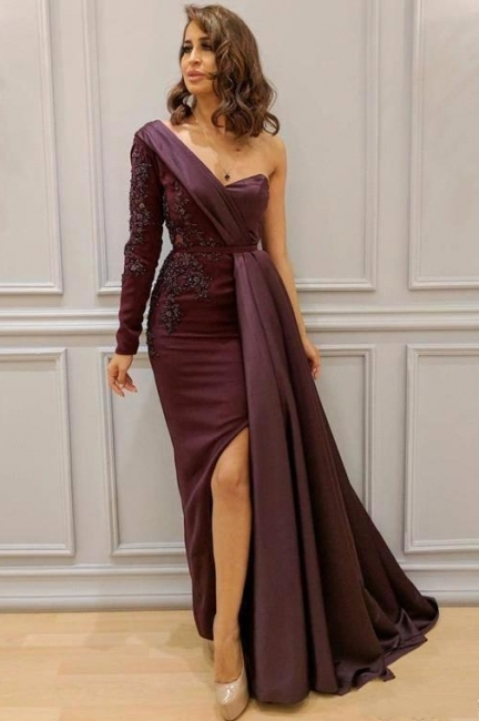 One-Shoulder Appliques Spandex Prom Dresses Open Back Evening Dresses with Waist Band