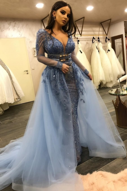 Stunning V-Neck Fitted Prom Dresses Long Sleeves Evening Dresses with Detachable Train