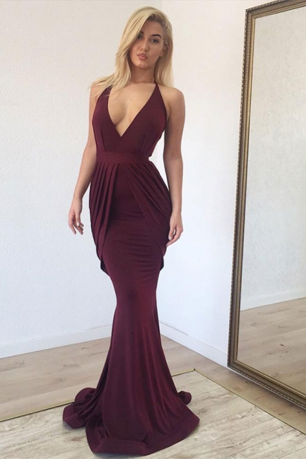 Halter Sleeveless Ruffles Burgundy Prom Dresses Mermaid Deep V-Neck Evening Dresses