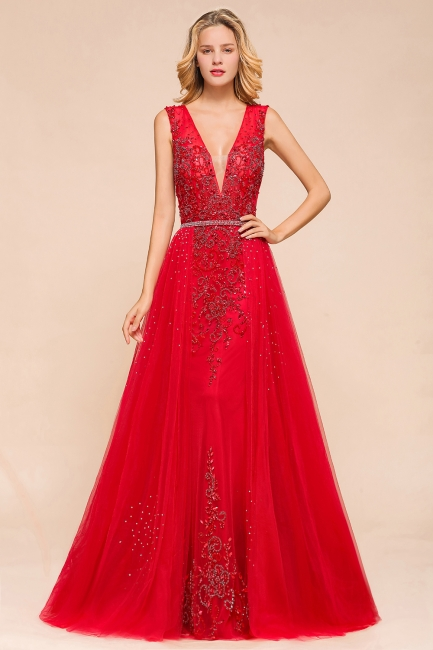 Sexy A-line V-Neck Red Prom Dresses Open Back Sleeveless Formal Dresses with Beaded Belt