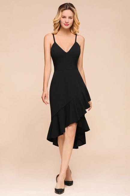 Stunning Black Spaghetti Strap Sweetheart Mermaid Short Prom Dresses Backless Rufffles Formal Dresses